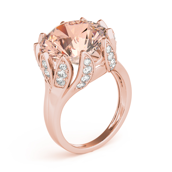 Large Peach Morganite Cocktail Ring Rose Gold