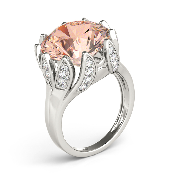 Large Peach Morganite Cocktail Ring