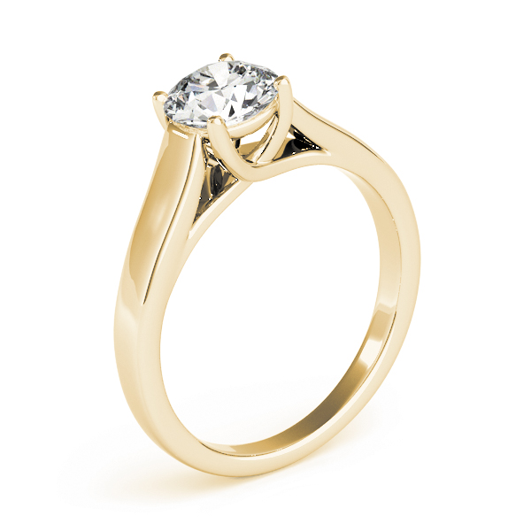 Diamond Trellis Solitaire Engagement Ring in Yellow Gold