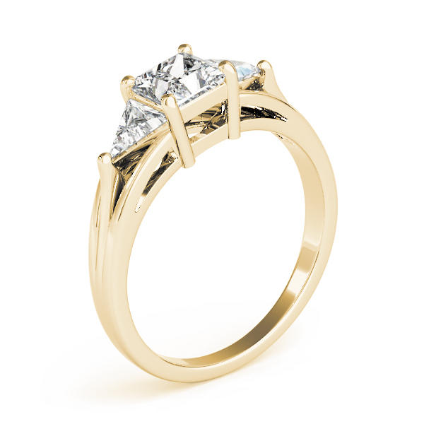 Three Stone Princess - Trillion Diamond Engagement Ring in Yellow Gold