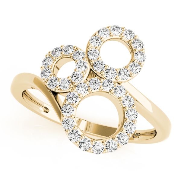 3 Circle Diamond Swirl Ring Yellow Gold