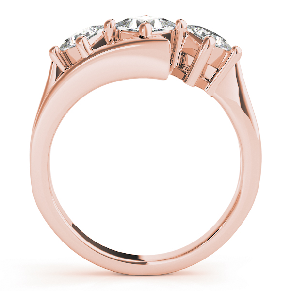 Three Stone Swirl Diamond Engagement Ring in Rose Gold