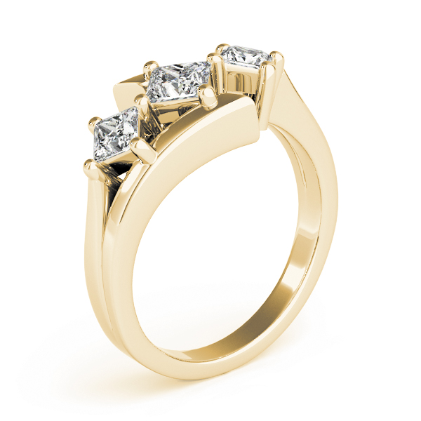 Three Stone Swirl Diamond Engagement Ring in Yellow Gold