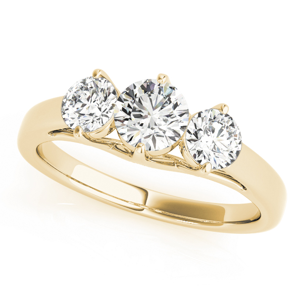 Three Stone Diamond Anniversary Ring in Yellow Gold