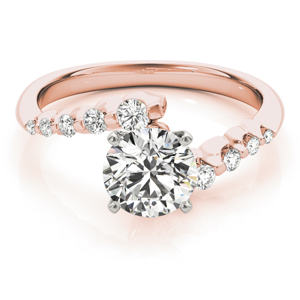Petite Swirl Diamond Engagement Ring Rose Gold