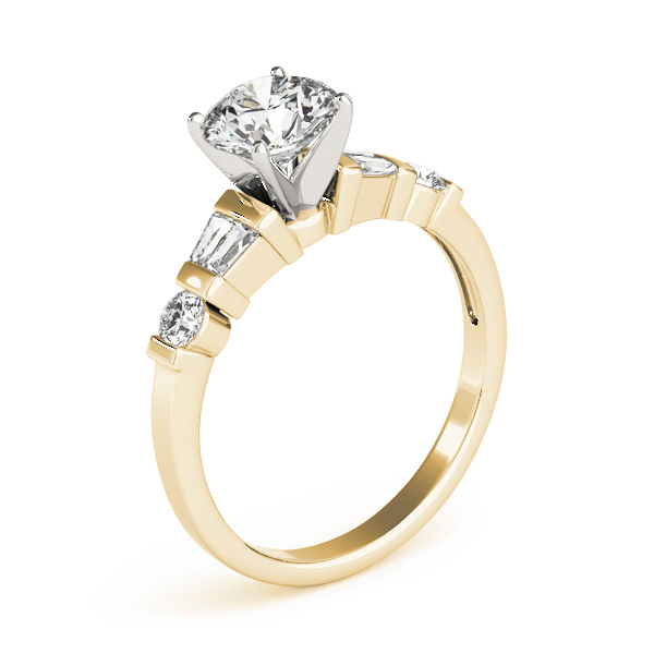 Classic Baguette & Round Diamond Ring Yellow Gold