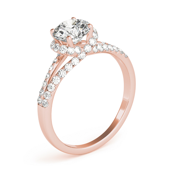 Criss Cross Halo Diamond Engagement Ring, Split Band in Rose Gold
