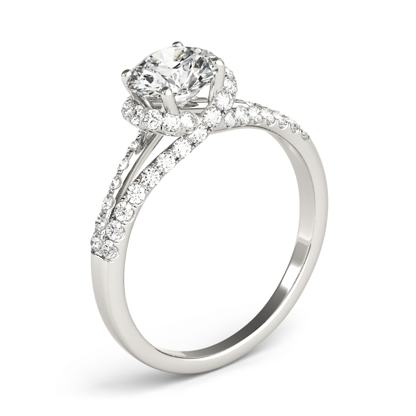 Criss Cross Halo Diamond Engagement Ring, Split Band