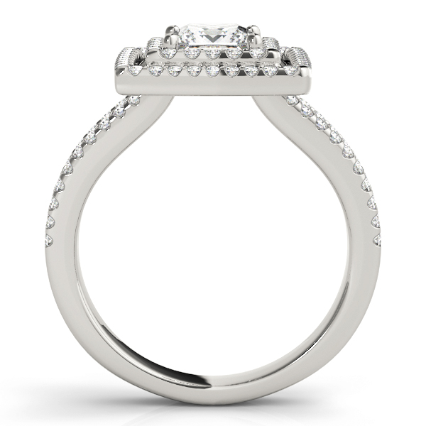 Double Halo Split Band Princess Engagement Ring