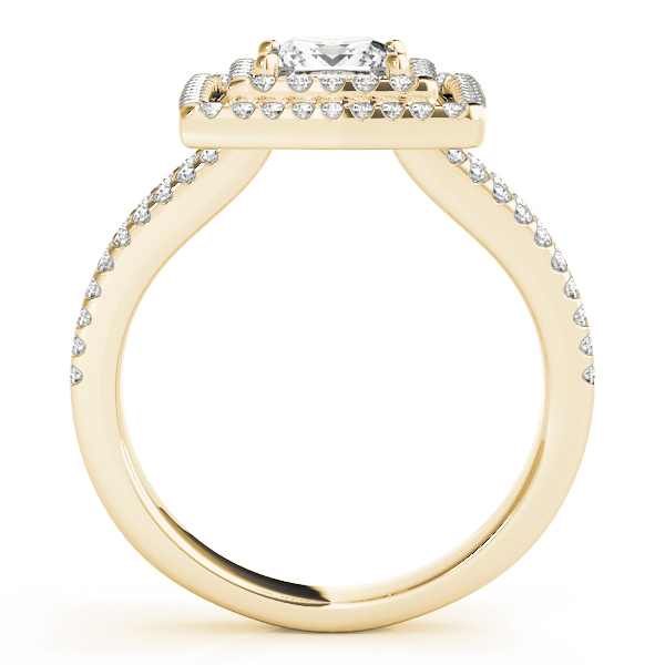 Double Halo Split Band Princess Ring Yellow Gold