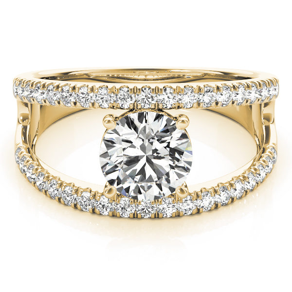 Wide Split Band Diamond Engagement Ring Yellow Gold