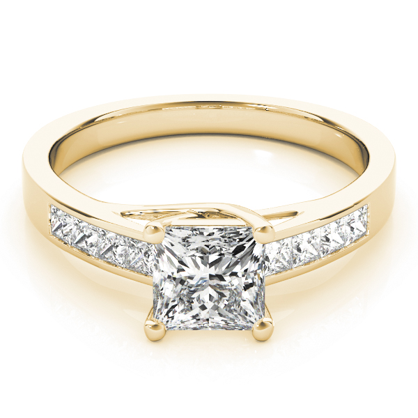 Classic Trellis Princess Diamond Engagement Ring in Yellow Gold