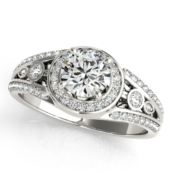Swing Halo Split Band Engagement Ring