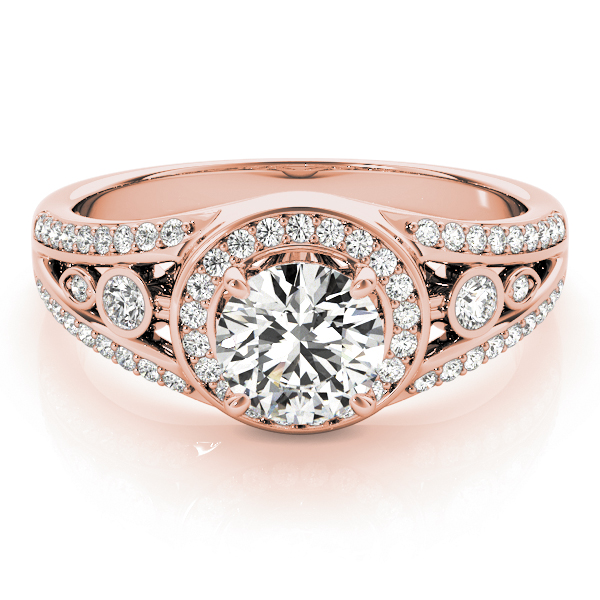 Swing Halo Split Band Engagement Ring Rose Gold