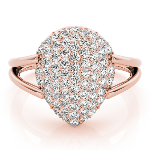 Pear Diamond Cluster Ring Rose Gold