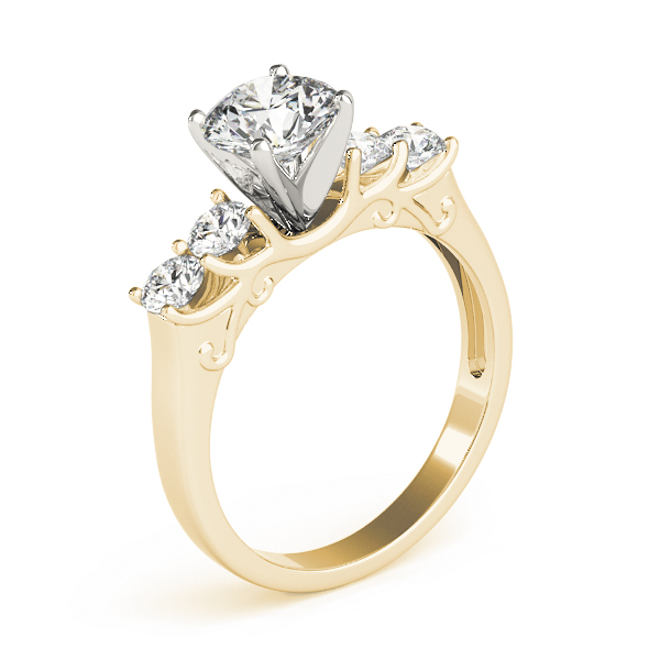 Four Stone Diamond Engagement Anniversary Ring, Engraving, Yellow Gold