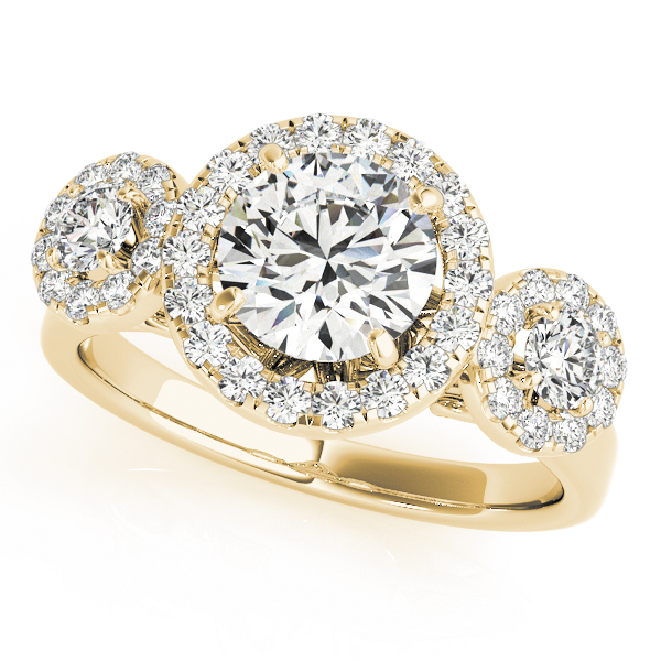 Three Stone Halo Diamond Engagement Anniversary Ring in Yellow Gold