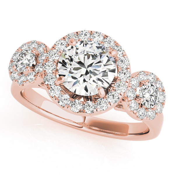 Three Stone Halo Diamond Engagement Anniversary Ring in Rose Gold