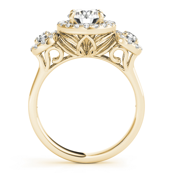 Three Stone Halo Diamond Engagement Anniversary Ring Yellow Gold