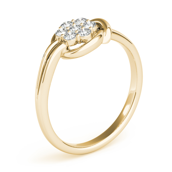 Flower Cluster Love Knot Ring Yellow Gold