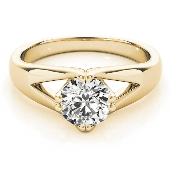 Split Band Solitaire Diamond Ring Yellow Gold