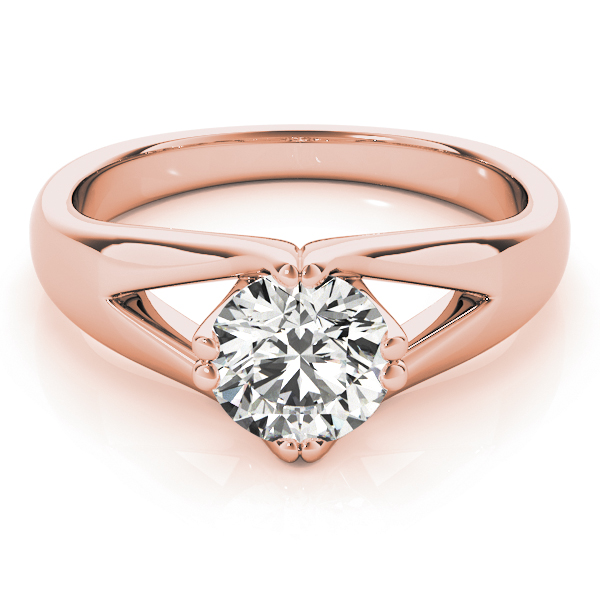 Split Band Solitaire Diamond Ring Rose Gold