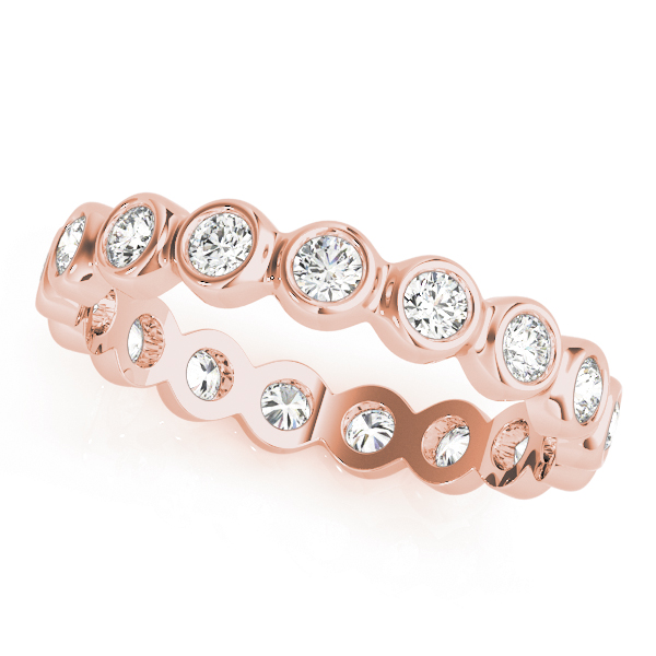 Bezel Diamond Eternity Band 0.64 Ct Rose Gold