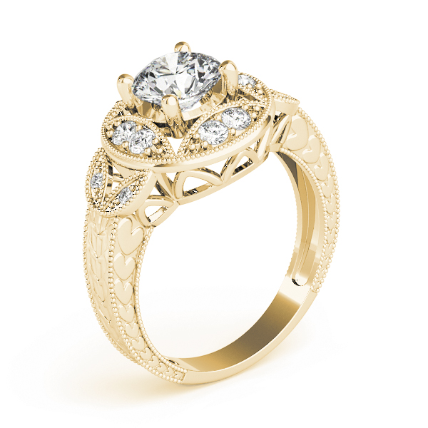 Vintage Vine Halo Engagement Ring, Engraved Band Yellow Gold