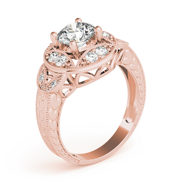 Vintage Vine Halo Engagement Ring, Engraved Band in Rose Gold