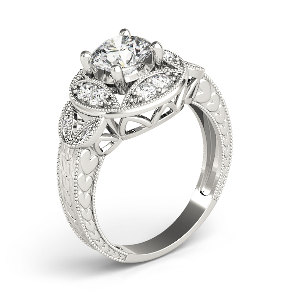 Vintage Vine Halo Engagement Ring, Engraved Band