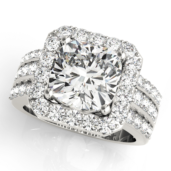 Large Square Halo Diamond Engagement Ring with Multi-Row Band