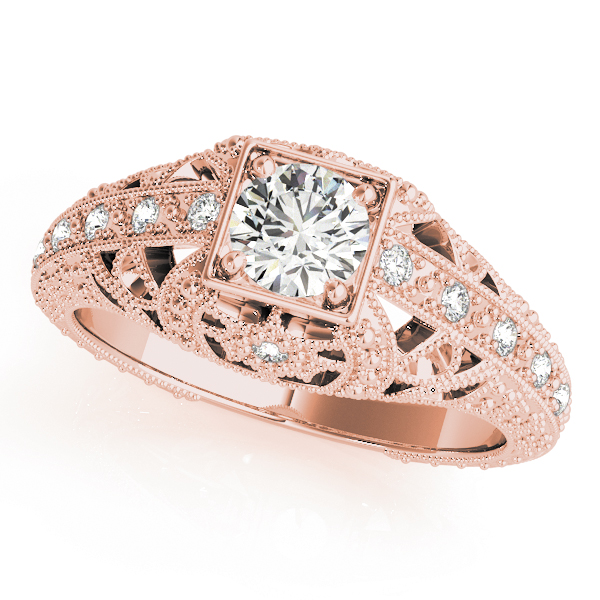 Vintage Filigree Diamond Anniversary Ring in Rose Gold