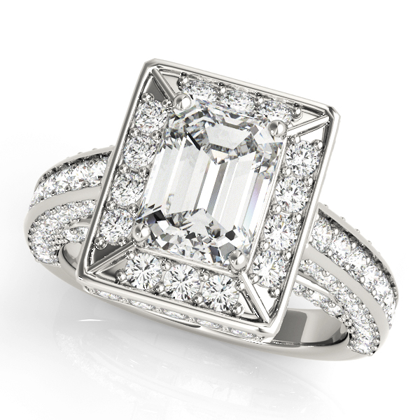 Emerald Cut Diamond Halo Cathedral Legacy Design Engagement Ring