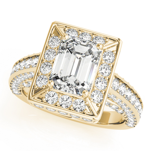 Emerald Cut Diamond Halo Cathedral Legacy Design Engagement Ring Yellow Gold