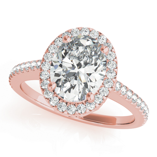 Oval Shaped Halo Diamond Engageement Ring, Filigree in Rose Gold