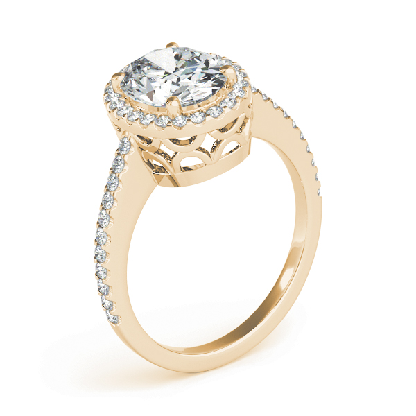 Oval Shaped Halo Diamond Engageement Ring, Filigree Yellow Gold