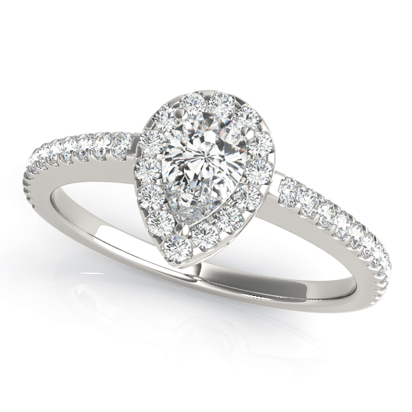 Pear Shaped Halo Diamond Engagement Ring, Filigree