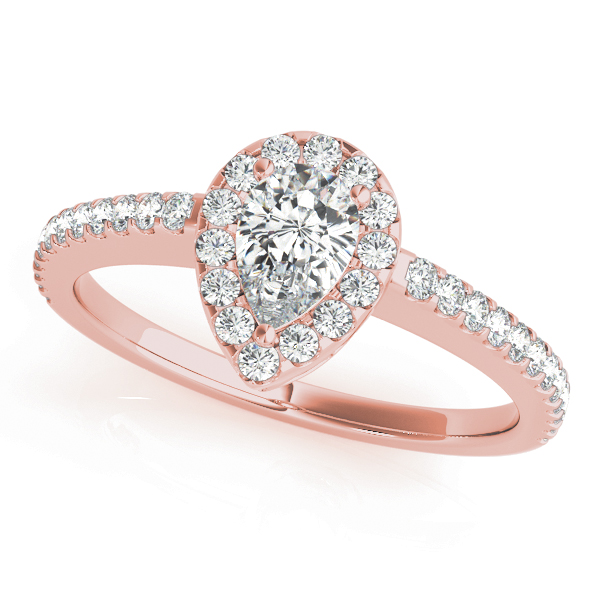 Pear Shaped Halo Diamond Filigree Engagement Ring in Rose Gold