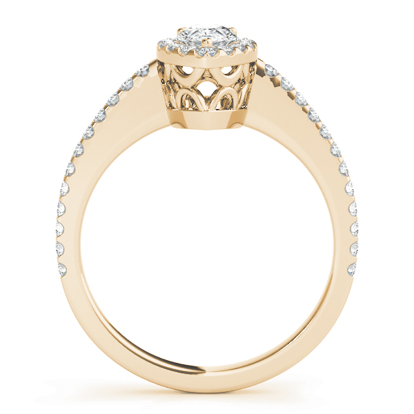 Pear Shaped Halo Diamond Filigree Engagement Ring Yellow Gold