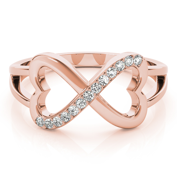 Heart Diamond Infinity Ring Rose Gold