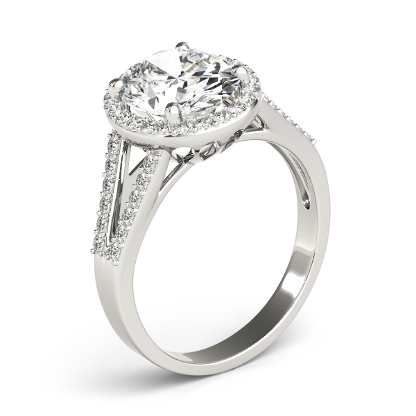 Oval Halo Split Band Diamond Ring for Large Diamonds
