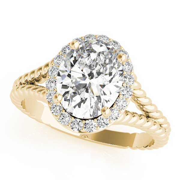 Rope Oval Diamond Halo Engagement Ring Yellow Gold