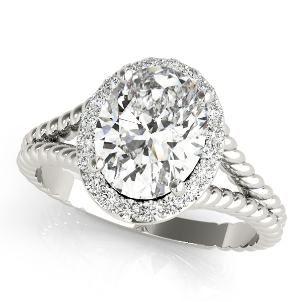 Rope Oval Diamond Halo Filigree Engagement Ring