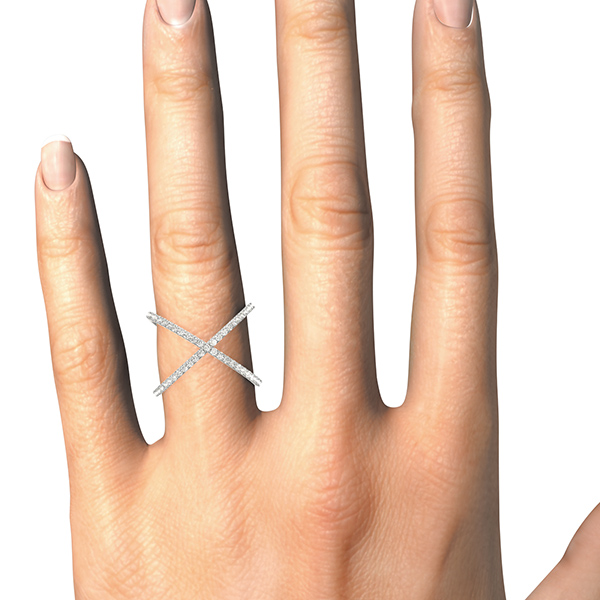 Abstract Criss Cross Diamond Ring