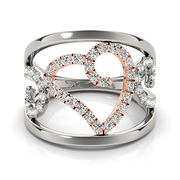 Abstract Two Tone Wide Split Diamond Band with a Heart & Swirls
