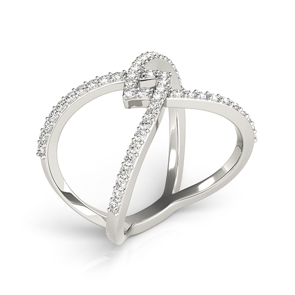Abstract Intertwined Criss Cross Diamond Ring