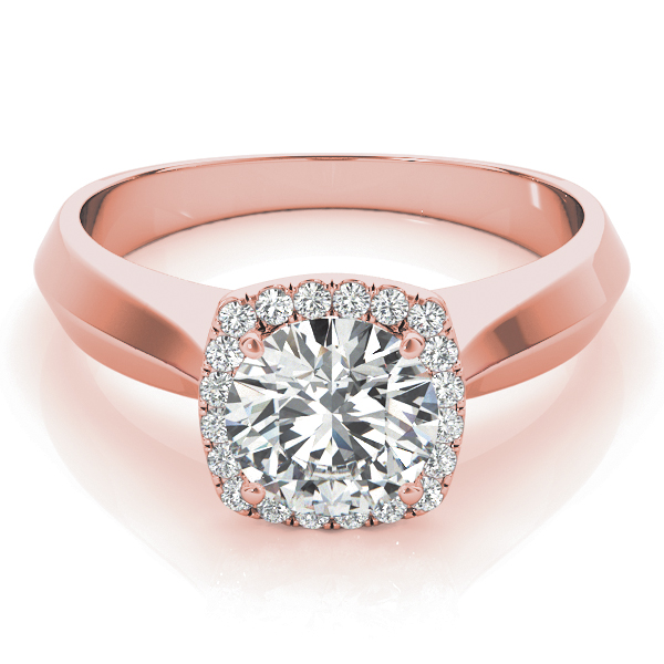 Solitaire Diamond Square Halo Engagement Ring in Rose Gold