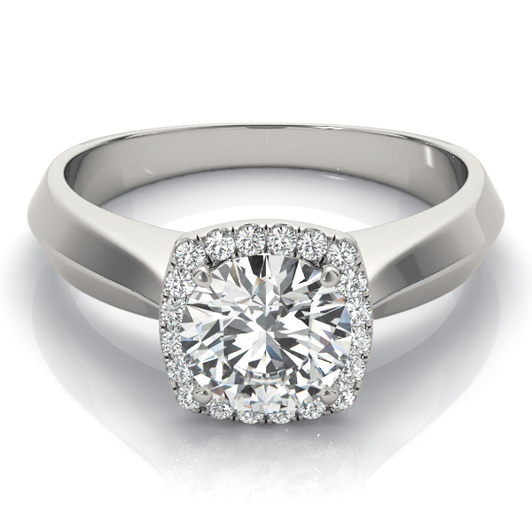Solitaire Diamond Square Halo Engagement Ring