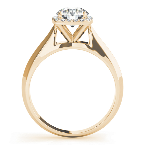 Solitaire Diamond Square Halo Engagement Ring Yellow Gold