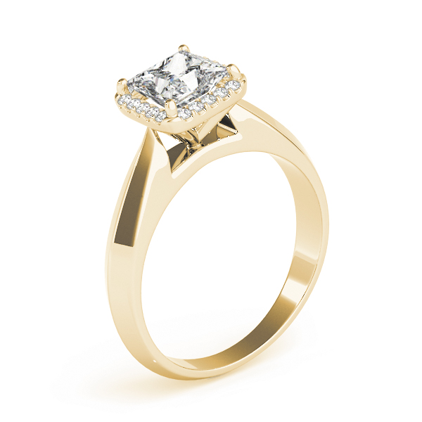 Solitaire Diamond Princess Halo Engagement Ring Yellow Gold